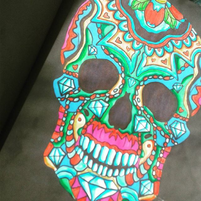 Diamond Skull In Sharpies Day Of The Dead