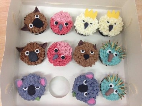 Australian animal cupcakes. I love how wombats always look so grumpy!