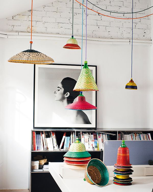 Bright woven lampshades by Alvaro Catalan de Ocon. Find out more and purchase these stunning lamps here: http://www.petlamp.org/ #lighting #decor