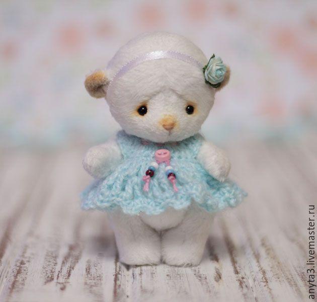 Купить Мишка (9,5 см.) - белый, голубой, мятный, мишка тедди