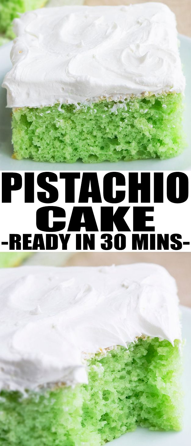 Easy PISTACHIO CAKE recipe, starts off with a yellow cake mix and has pistachio pudding and is topped off with whipped cream. Can also make pistachio bundt cake. From CakeWhiz.com