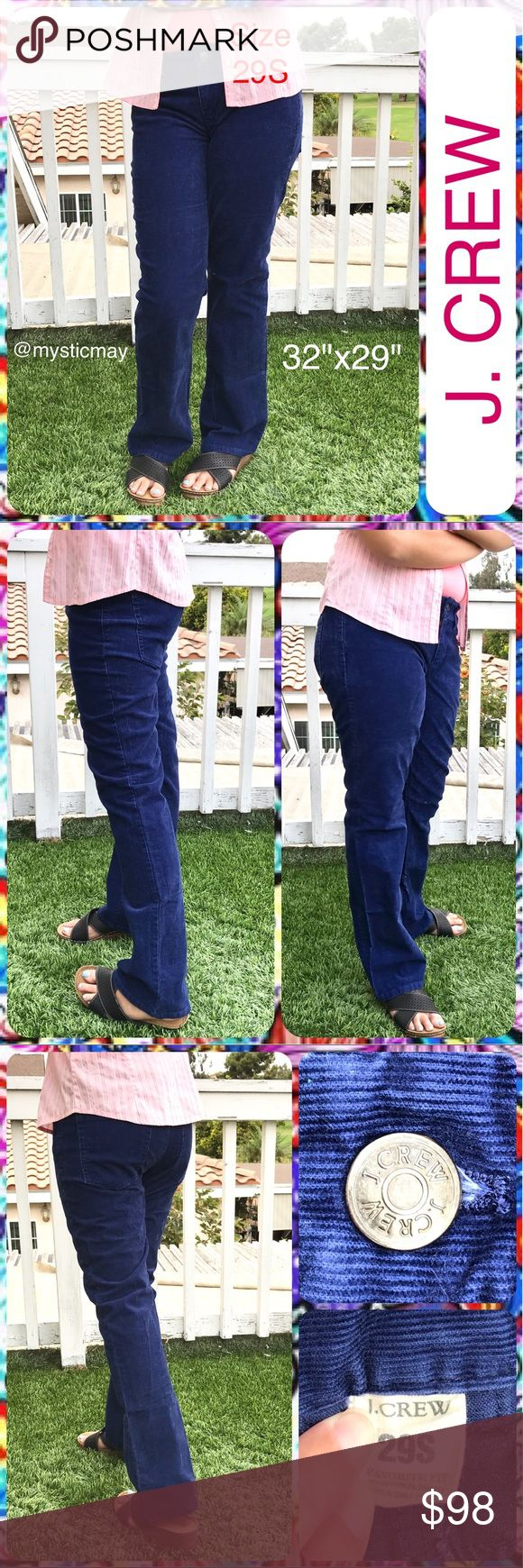 """J.CREW Ladies Blue Mid-Rise 5-Pocket Corduroy Pant Deep blue """" Favorite Fit """" corduroy pants from J. Crew. Mid-rise with classic 5 pocket styling. Cotton/ spandex blend with nice stretch. Ladies Size 29s for those with a 32"""" waist and 29"""" inseam. Overall 38.5"""" in length with 8.5"""" leg opening. In Beautiful Condition! J. Crew Pants Trousers"""