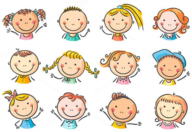Set of 12 happy cartoon kids faces by Optimistic Kids Art on Creative Market