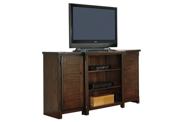 "This is going to be the ""bar cabinet""  Ashley Furniture Series Name:	Hindell Park Item Name:	Extra Large TV Stand Model #:	W695-48 Dimensions:	72""W x 20""D x 39""H Weight:	200 lbs"