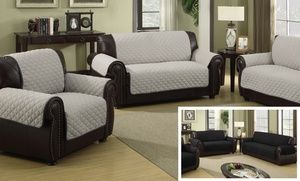 Groupon - Quilted Reversible Furniture Slipcover for Chair, Loveseat, or Sofa in [missing {{location}} value]. Groupon deal price: $22.99
