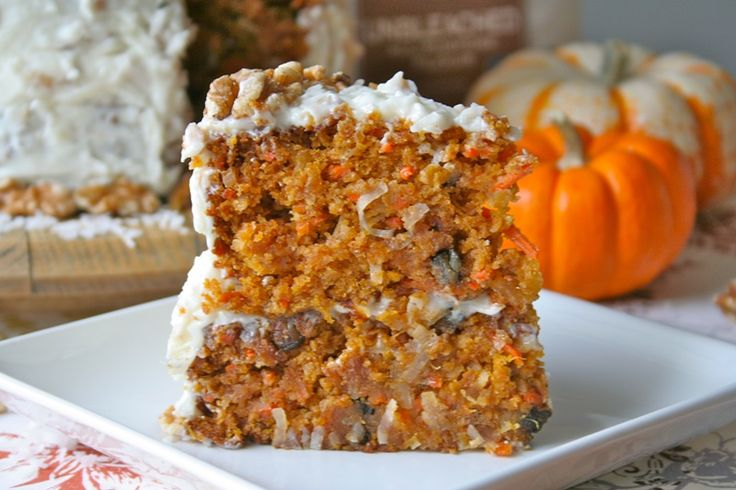 Pumpkin Carrot Cake Recipe - You get the best of so many flavors in this incredibly moist and flavorful cake. There's pumpkin (I'm obsessed!), carrots, coconut, pineapple, and walnuts. It shouts fall and screams Thanksgiving! So let me walk you through how you can have this beauty as the centerpiece of your Thanksgiving dessert table. --- http://www.goldmedalflour.com/ourbakerblog/2012/october%202012/pumpkin%20carrot%20cake
