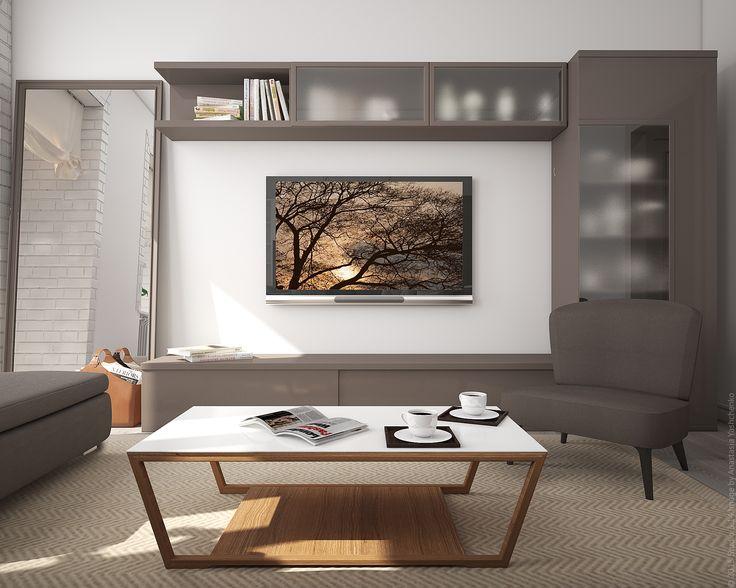 Вид на ТВ-зону в гостиной в трехкомнатной квартире в центре Москвы.