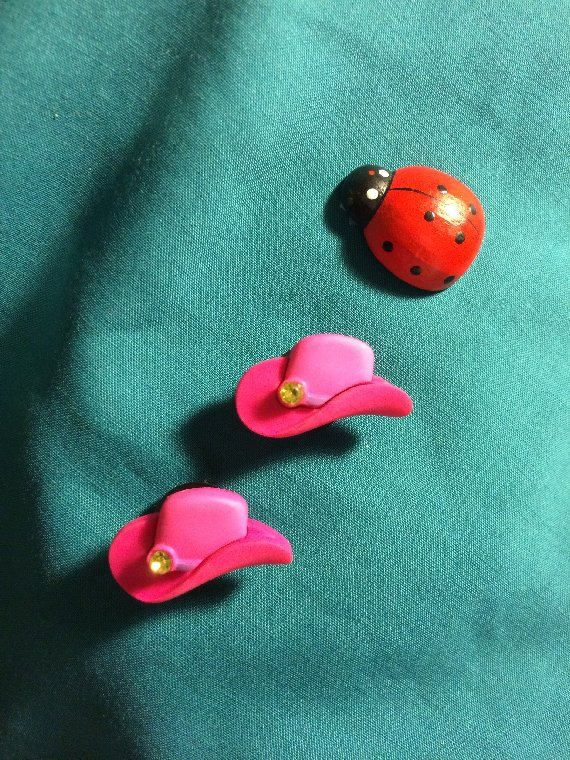 Cute Light and Dark Pink COWBOY HAT with Lime Green Rhinestone Croc Shoe Charms  Jibbitz sold on Etsy Shop GardenLadybugWishes