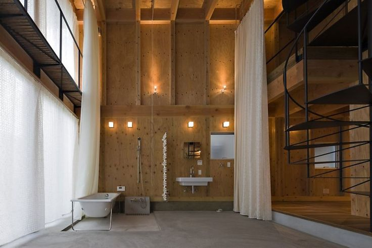 double height bathroom with curtains. House in Waga-Zaimokuza by Architect Cafe: Plywood Interiors, Dreams Home, Architects Cafe, Interiors Design, Loft Bathroom, Home Decor, Japan Studios, Plywood Bathroom, Cool Places