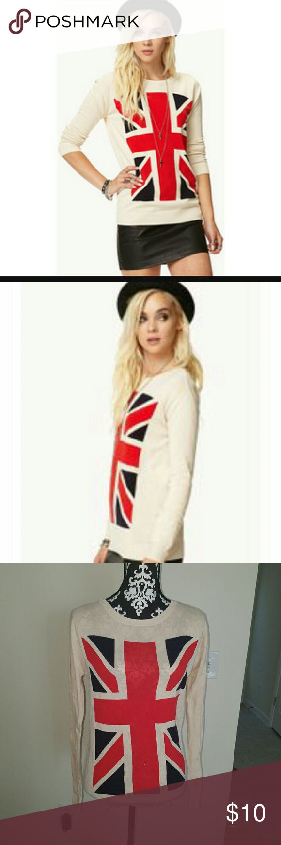 Britain Flag print Sweater Cream colored sweater with britain flag on front. Very comfy Forever 21 Sweaters Crew & Scoop Necks