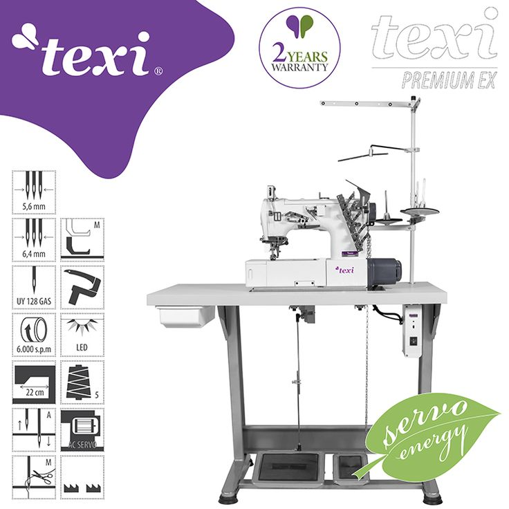 Texi Treccia Premium EX - 3-needle flat bed coverstitch (interlock) machine with built-in AC Servo motor and needles positioning - complete sewing machine with 2 years warranty. #texisewing #sewingmachine #industrial