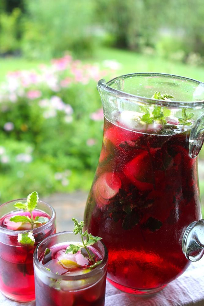 Hibiscus Mint Herbal Iced Tea // High in anti-oxidant bioflavanoids, Hibiscus has been the study of many recent studies for its anti-inflammatory, cardio-protective, neuroprotective, and hepatoprotective qualities // Blog Castanea by the Chestnut School of Herbal Medicine //