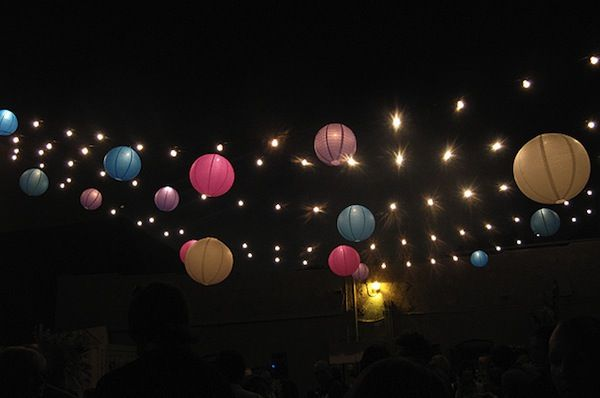 party balls and stringed lights backyard party backyard and patio