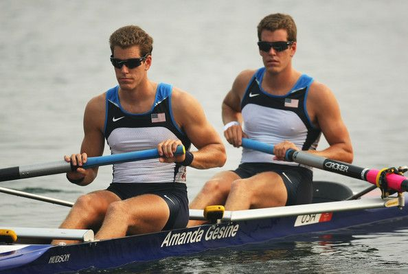 Tyler Winklevoss and Cameron Winklevoss of the USA compete in the Men's Pair Heat 1 at Shunyi Olympic Rowing-Canoeing Park during Day 1 of the Beijing 2008 Olympic Games on August 9, 2008 in Beijing, China.