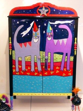 Whimsical Painted Sewing Cabinet