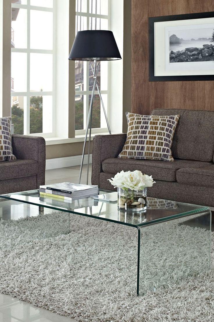 Transparent Clear Coffee Table on EB & Kris | ebandkris.com Mid-century modern | coffee table | glass coffee table