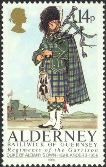 A stamp containing all relevant information, for a change. The pipe is, of course, a Great Highland Bagpipe.