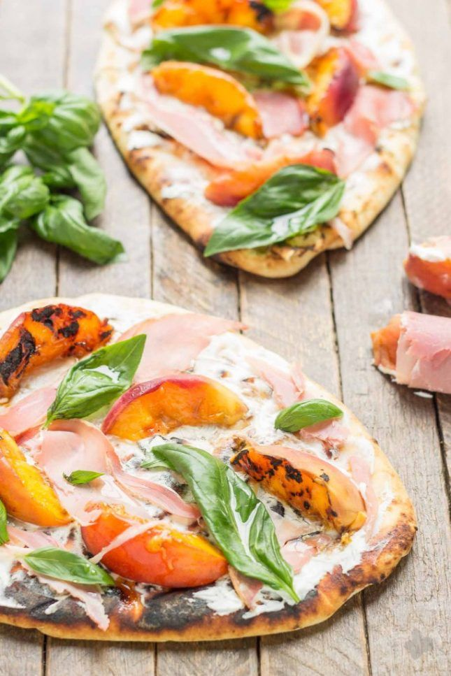 Grilled Peach, Prosciutto and Goat Cheese Pizza.