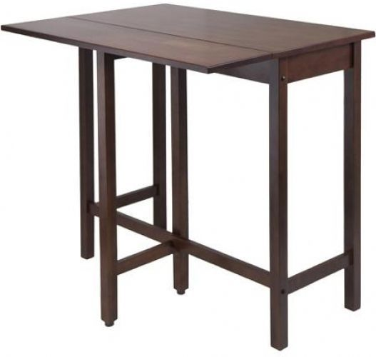 Kitchen Island High Table Drop Leaf Antique Walnut Finish Versatile Space Saving