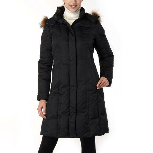 Phistic Women's Hooded Down Coat with Removable Genuine Raccoon Fur Trim in Black or Chocolate phistic. $99.00