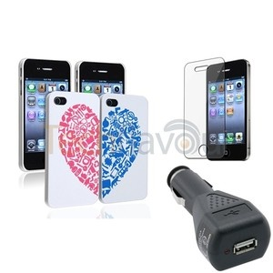 2x White w/Red Heart Case+Screen Protector+DC Charger For iPhone 4 4G 4S | eBay