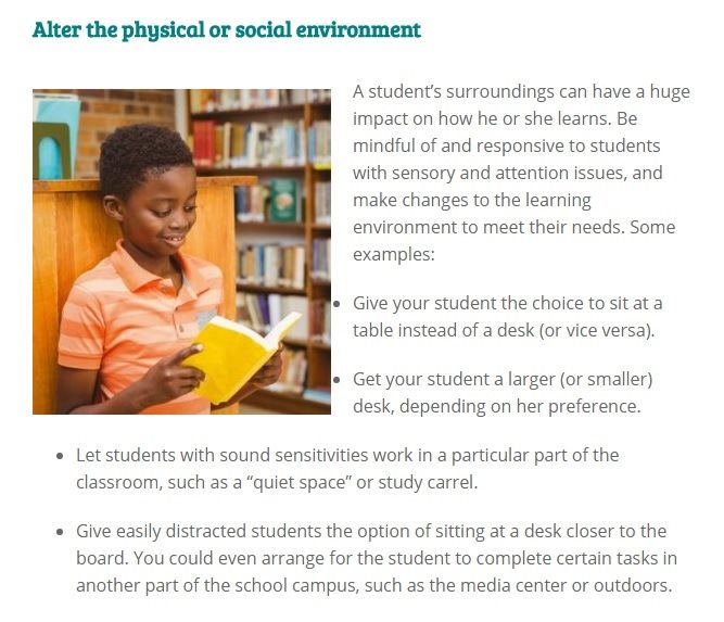 Adaptation Tip Alter A Student S Physical Or Social Environment To Meet Their Needs Click To Read Th Inclusion Classroom Social Environment Attention Issues