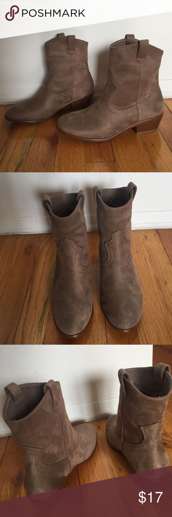 NWOT Suede Cowboy Boots Brand new, never worn! Light tan colored faux suede cowboy styled Ankle Booties. Lightweight, slip on. Short wooden heel. Brand is Wild Diva, purchased from mandee. Size 6 and 7 available. Wild Diva Shoes Ankle Boots & Booties