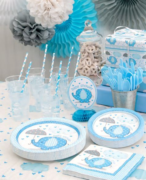 These elephant baby shower supplies are so cute - elephants are definitely one of our favourite baby shower themes!