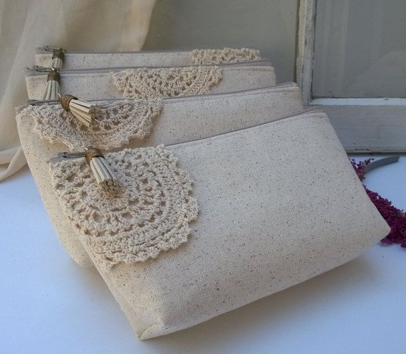 Made from eco-chic materials and processes. Lined with ivory satin, and adorned with a soft cotton lace accent. Mix and match location or have them all the same. Suede and antique bronze tassel attaches to the zipper. Set of 7 - BONUS - YOU GET THE 7th BAG FREE. Limited time pricing. Each bag measures approximately 8.5 long, 2 deep, 4 tall Wash on cold, air dry, low iron. PERSONALIZE YOUR CLUTCHES HERE: https://www.etsy.com/shop/GeauxMelange?section_id=14311266&amp...