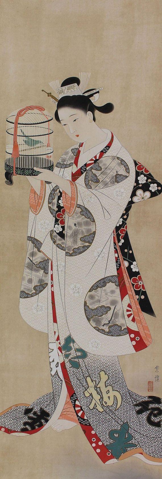 Japanese Fine Art Wall Hanging Scroll Painting Bijin-ga Beauty in Kimono admiring the bird Kakejiku – 1507205