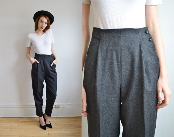 8ce70486444a02 90s gray WOOL high waist dress pants // preppy military chic WORKING GIRL  structured pleated minimal dressy cuffed harem trouser pants 6 8