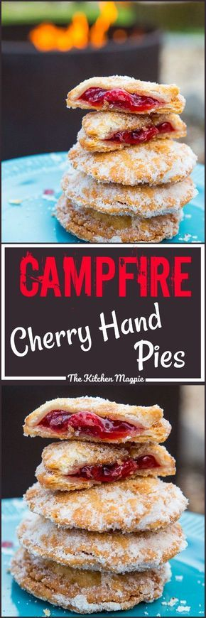 Campfire Fried Cherry Hand Pies. Makes use of pie crust, oil and canned cherry filling.