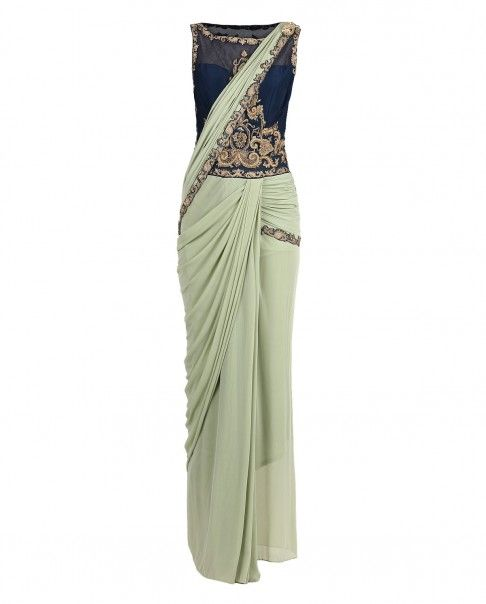 Green Embroidered Drape Sari Gown