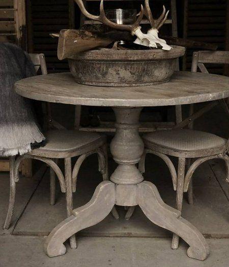 Ronde grijze elmwood houten tafel