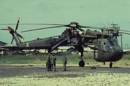 "The Sikorsky CH-54 Tarhe (1969) is a twin-engine heavy-lift helicopter designed by Sikorsky Aircraft for the United States Army. It was named for Tarhe, an 18th century chief of the Wyandot Indian tribe. His nickname was ""the Crane"".  The civilian version is the S-64 Skycrane."