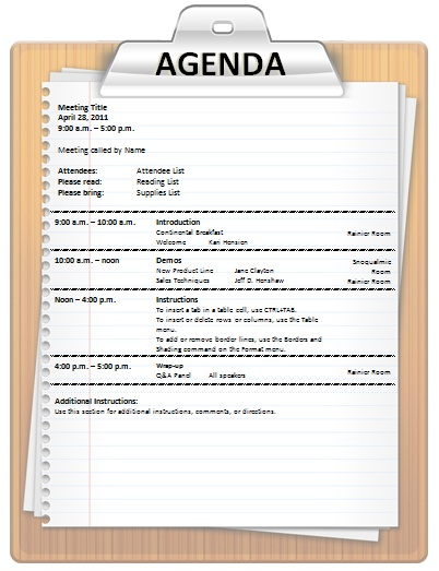 Agenda Templates For Word Meeting Agenda Template WordMeeting – Agenda Format Word