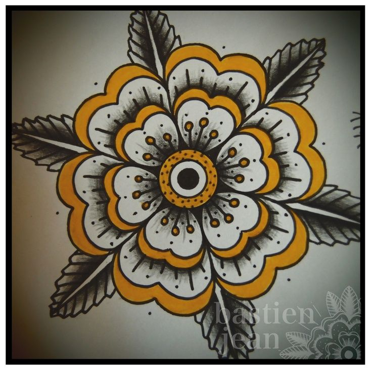 traditional geometric flower tattoo - Google Search