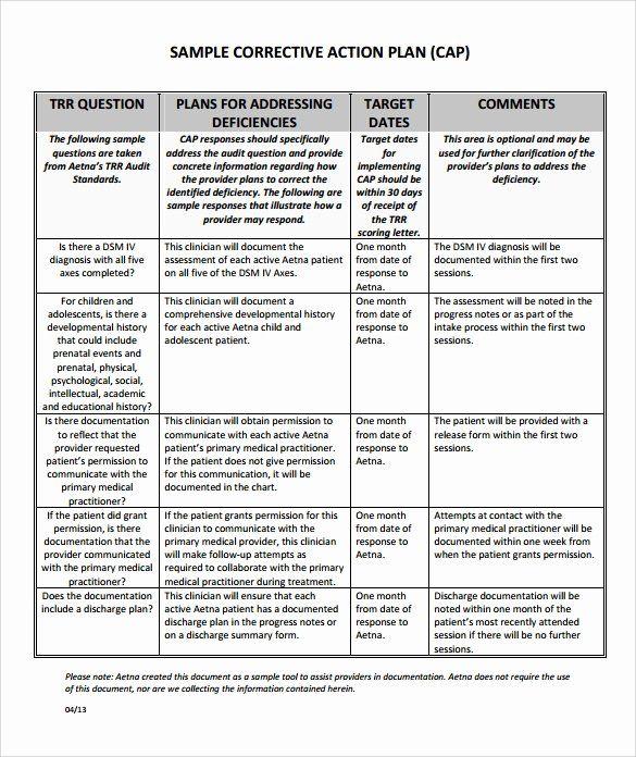 Corrective Action Plan Template Word Elegant Sample Corrective Action Plan Template 9 Documents In Action Plan Template Template Word How To Plan Sample corrective action plan
