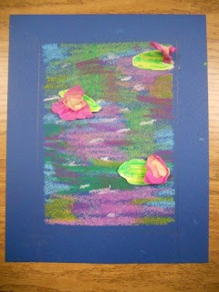 Create Art With Me!: October 2012--monet waterlilies--oil pastels and 3d tissue paper lilies