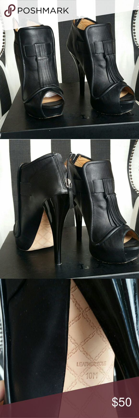 LAMB Gwen Stefani tassel black booties Super chic black booties with menswear feel. Platform makes these super comfortable!! Some wear on soles. Comes with box and extra heel taps. L.A.M.B. Shoes Ankle Boots & Booties