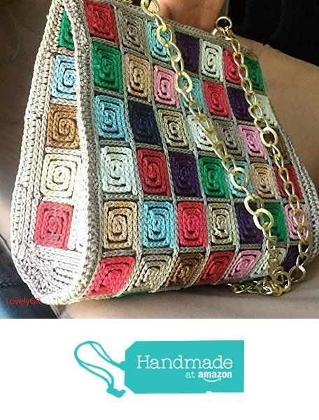 Handmade Crocheted Multi Color Women Shoulder Bag 5 mm Plastic Canvas Polypropylene Cordon from LovelyGR