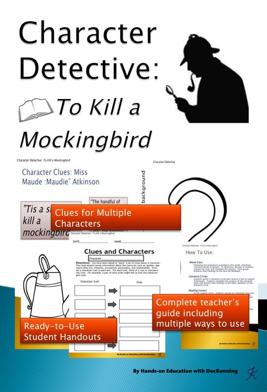 Discover clues about the rich characters of To Kill A Mockingbird. Students investigate the characters as part of their analysis while playing detective.  Great way to access the book.