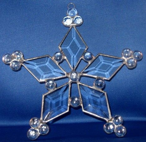 Stained Glass Snow Flake - Let it Snow with Beveled glass and gems | StainInTheGlass - Glass on ArtFire