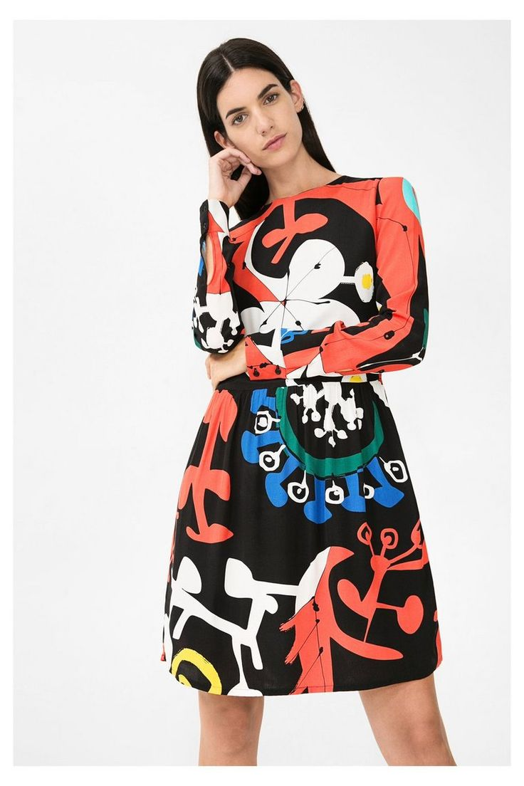 Zwart met rode jurk met klokrok - Like | Desigual.com 2000