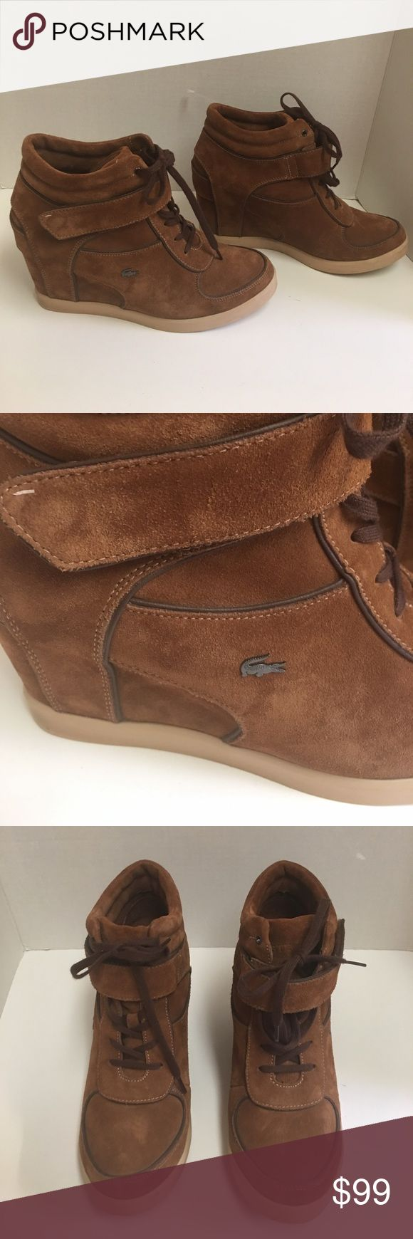 Lacoste Berdine 5 SRW brown suede wedge sneakers This is the fabulous Lacosta women's Berdine 5  suede wedge sneaker.  3 inch covered heal. Rubber outersole and lace up closure. Velcro strap. Lacosta emblem on the side. These are in excellent condition. Lacoste Shoes Athletic Shoes