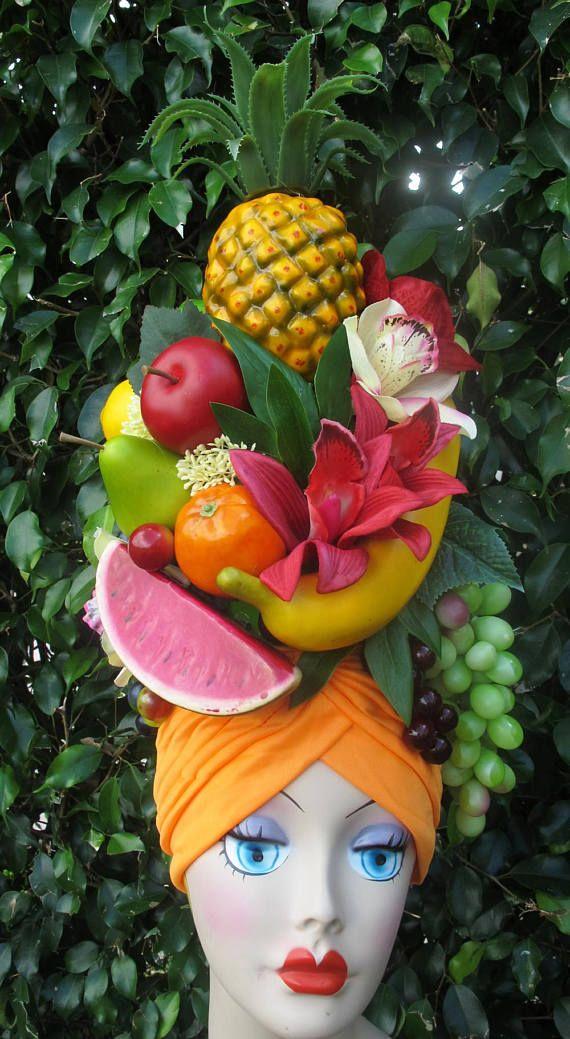 fe6946a3884 Tropical Fruits TURBAN Carmen Miranda style ORANGE Carmen Miranda