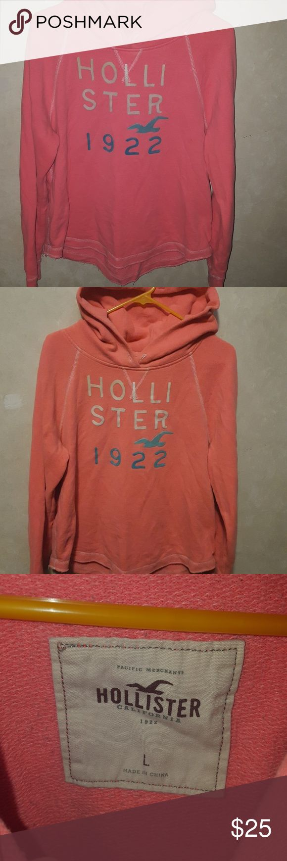 Hollister hoodie Large hoodie from Hollister. Coral colored. Hollister Tops Sweatshirts & Hoodies