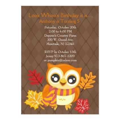 Fall Owl Birthday Party Invitation - birthday cards invitations party diy personalize customize celebration