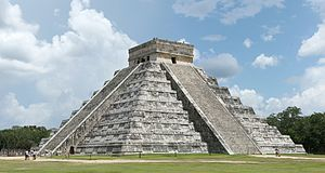 Chichen Itza was a large pre-Columbian city built by the Maya civilization. The archaeological site is located in the municipality of Tinum, in the Mexican state of Yucatán. It was a major focal point in the northern Maya lowlands from the Late Classic (c. AD 600–900) through the Terminal Classic (c.AD 800–900) and into the early portion of the Early Postclassic period (c. AD 900–1200). The site exhibits a multitude of architectural styles, reminiscent of styles seen in central Mexico...