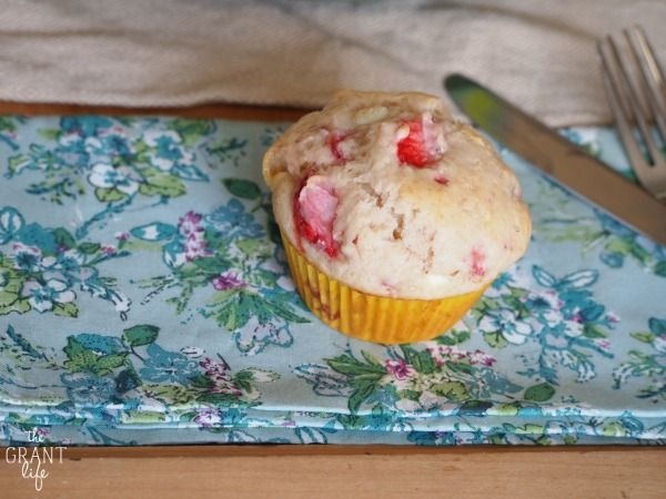 Delicious strawberry white chocolate muffins